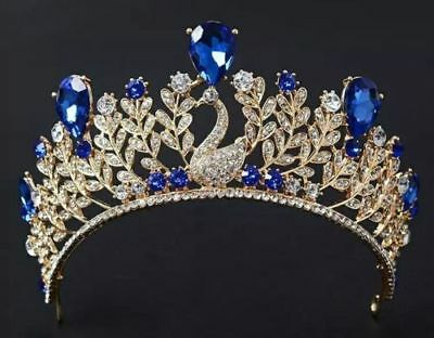 Gold tiara with royal blue peacock wedding prom bridal occasions queen UK
