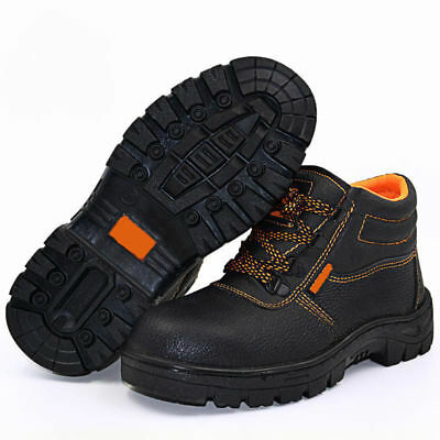 Mens Leather Safety Boots Steel Toe Caps High Ankle Hiking Working Shoes Size