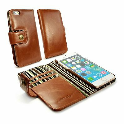 Alston Craig Vintage Gen Leather Wallet Case Cover for iPhone 6/6s - Brown