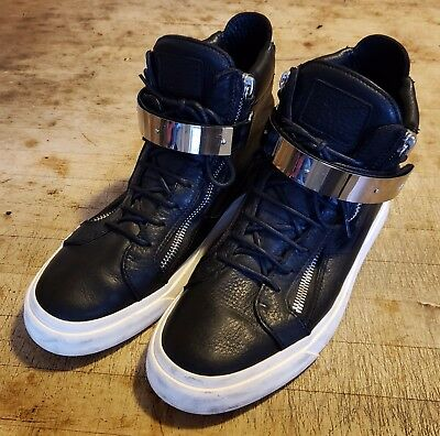 96e0f7ef4 GIUSEPPE ZANOTTI HOMME Black   Silver Leather High Top Sneaker EU 43 US 10  ITALY