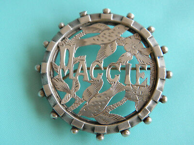 ANTIQUE VICTORIAN STERLING SILVER NAME BADGE MAGGIE BROOCH ~ Around 1890's