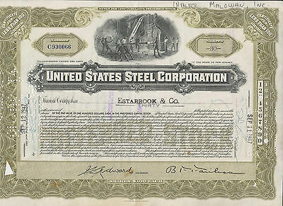 1947 United States Steel Corporation Preferred Stock Certificate - New Jersey