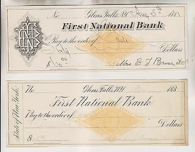 2 1881 Cancelled Checks - First National Bank - Glens Falls New York