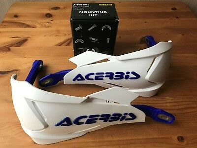 Acerbis X - Factory Wrap Around Husqvarna Hand Guards & Fitting Kit White/blue