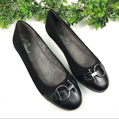 Aerosoles Women/'s Ballet Cut Out Flats Black 141J tz NEW