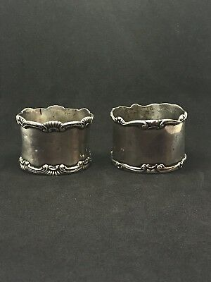 Lot Of 2 Antique Simon Brothers Sterling Silver Napkin Rings Ornate .