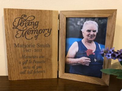 Personalised Wooden 6x4 Book Photo Frame - In Loving Memory Memorial  - Any Name