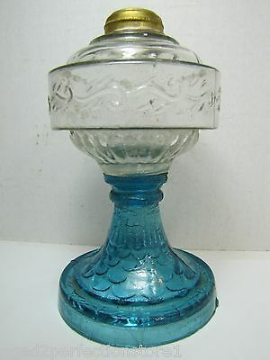 Antique Blue and Clear Glass Decorative Art OIl Lamp small scale scroll design