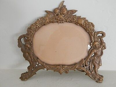Antique Victorian Cast Iron Tabletop Picture Frame Beveled Glass