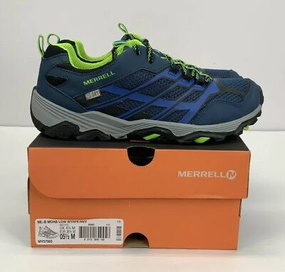 MERRELL BOYS Moab Low Waterproof Hiking Shoe Blue Youth Size 5.5 - BRAND  NEW! dbe5de99cbbf