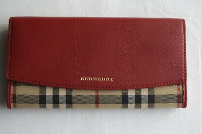 Burberry Women s Horseferry Check And Leather Continental Wallet in Parade  Red 65d6f4b126
