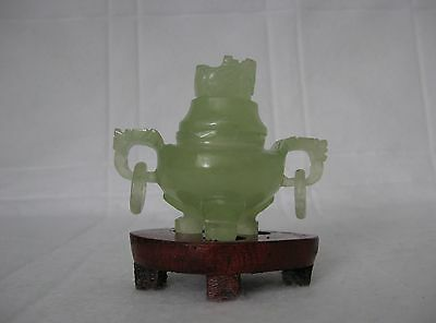 New Natural Green Jade Hand Carving Incense Burner With Wood Stand #3