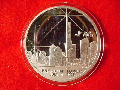 Freedom Tower July 4th 2004 World Trade Center Silver Recovered Coin w/ COA