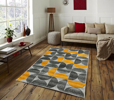 Gold Ochre Floor Rugs Modern Thick Soft Small Ex Large Grey Silver Carpets Cheap