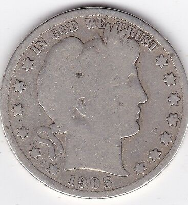 1905 S Barber Silver Half Dollar, circulated with rim tics on rev