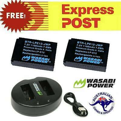 Wasabi Power Battery x 2 and Dual USB Charger for Canon LP-E12,Canon EOS M, M10