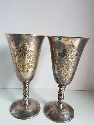 Vintage Lot of Silver/Lead/Plated Unknown Goblet Wine Cups