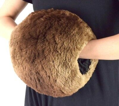 Vintage Mouton Fur Muff Soft Luxe Brown Hand Warmer Retro Womens 10""
