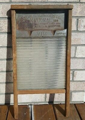 Antique National Washboard Co No. 180 Wood Metal Glass 1915 Primitive Advertise