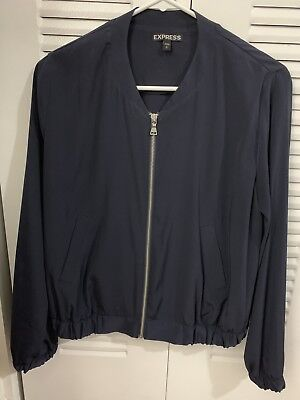 77c739bdf NWT LAVEER DOTS navy blue white Cotton snap front Bomber Jacket ...