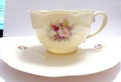 Irish Parian Donegal China 8021 Floral Tea Cup and Saucer.