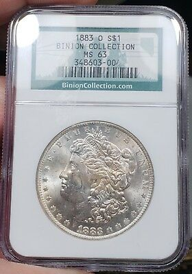 (5) 1883-O Morgan Dollars Graded NGC MS63 From The Binion Collection