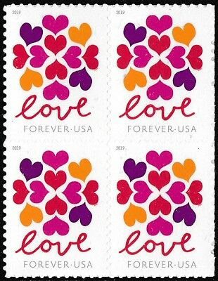 US 5339 Love Hearts Blossom forever block (4 stamps) MNH 2019