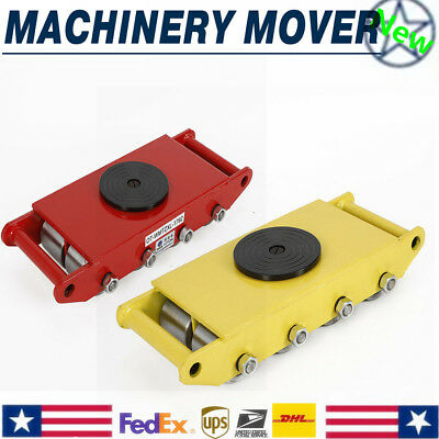 ( Yellow/ Red) 12 Ton heavy machine dolly skate machinery roller mover 8 wheels