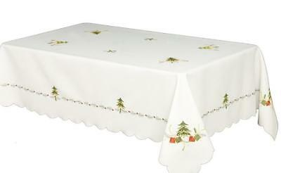 HOUSE ADDITIONS TREE AND GIFT CHRISTMAS TABLECLOTH WHITE GREE RED 180cmWx270cm L