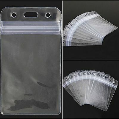10Pcs ID Card Holder Clear Vinyl Vertical Transparent PVC Plastic Badge Holders