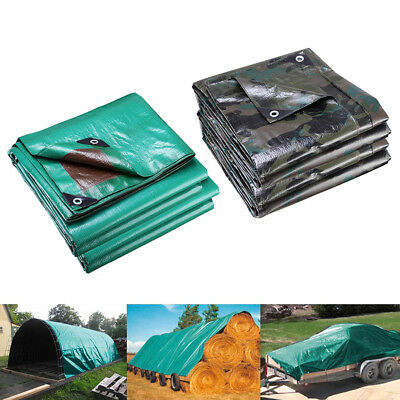 Reinforced Poly Tarps 137gsm PE Tarpaulin Camping Cover UV Rot Proof Multi-Size