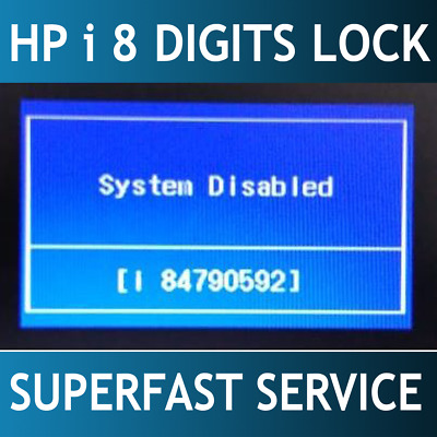 HP BIOS PASSWORD, System Disabled, 8-digit code starting