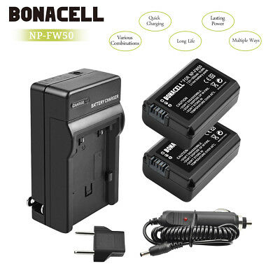 2pcs Battery+Charger NP-FW50 for Sony Alpha 7R A3000 A5000 A6000 NEX-5 a6300 UB