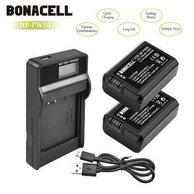 2pcs Battery + LCD Charger NP-FW50 for Sony Alpha 7R A3000 A5000 A6000 NEX-5 UB