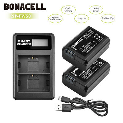 2pcs Camera Battery+Charger NP-FW50 for Sony Alpha 7R A3000 A5000 A6000 NEX-5 PE