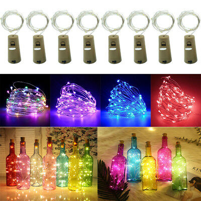 8Colors LED Wine Bottle Cork Lights Copper Wire String Lights Party Home Decors-