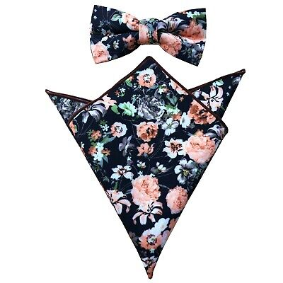 Mens Black and Peach Floral Matching Pre-tied Bow tie+Pocket Square 2PCS Set