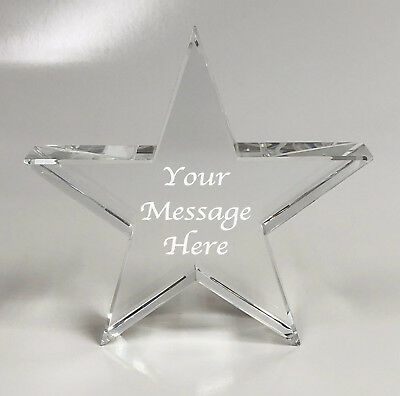 Personalised Engraved Crystal Clear Star Glass Paperweight - Baby's 1st Birthday