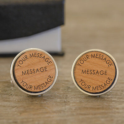 Personalised Engraved Any Message Wooden Cufflinks Wedding New Baby Gift Father