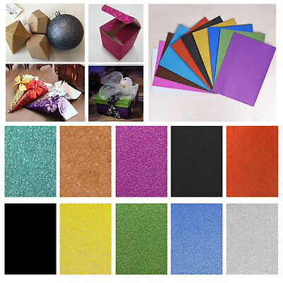 A4 Glitter Card 10 Sheets Premium Quality 250gsm Various Arts Crafts Paper UK