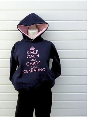 keep calm and carry on ice skating  navy/pink hoodie/ hoody