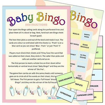 Baby Shower Game 20 Player - BINGO - Unisex Party, Neutral Boy Girl Lemon, Polka