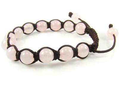 Hand Made Adjustable Rose Quartz Fertility Gemstone Shamballa Bracelet Healing