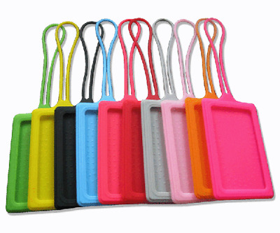 Silicone Luggage Baggage Tags Labels Name Address Suitcase Travel *FREE UK POST*