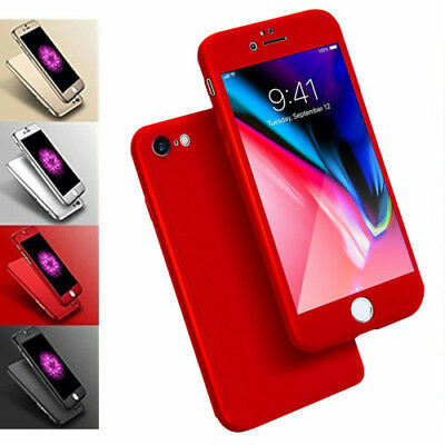 For iPhone 6s 6 Full Body 360° Hard Case Cover with Crystal Clear Tempered Glass