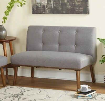 Mid Century Loveseat Settee Upholstered Armless Grey Finish Curved Brown Wood