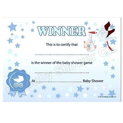 Baby Shower Games Prize - WINNERS CERTIFICATE (BLUE) Party Boy, 10 Guests,Stars