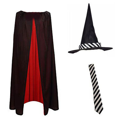 Childrens Girls Striped Witch Hat Cape Tie Fancy Dress Costume World Book Day
