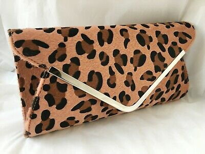 f604a3356891 Faux Fur Leather Leopard Animal Print Evening Day Red Black Clutch Bag