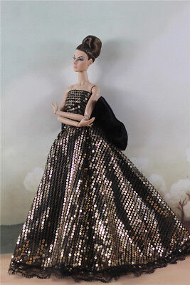 Fashion Party  Gold Bead Bowknot  floor-length ball gown Dress For 11 inch. Doll